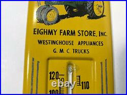 1950s John Deere Tractor Thermometer Sign 13 Eighmy Farm Store GMC Rochelle IL