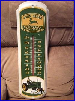 1970s John Deere Metal Thermometer Sign