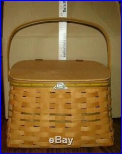 1995 John Deere HANDMADE Handled Wicker Basket Carnation Signed Pewter jd Logo