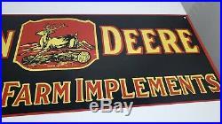 26x8 Old New Stock Original John Deere Farm Equip. Porcelain Gas & Oil Adv. Sign