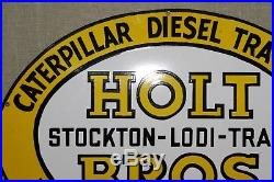 30 John Deere Catterpillar Holt Bros Dealer Porcelain Sign Gas Oil Farm Tractor