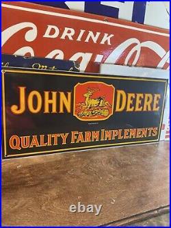 34 Large Vintage''john Deere'' Porcelain Advertising Sign 10.5x24 Inch USA