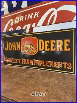 34 VINTAGE STYLE''JOHN DEERE'' GAS & OIL PUMP PLATE 24x10.5 INCH PORCELAIN SIGN