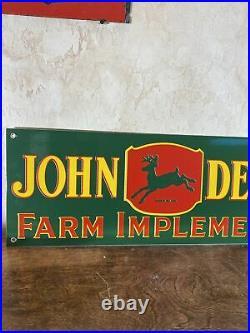 3-55 VINTAGE STYLE''JOHN DEERE'' GAS & OIL DEALER 24x8.5 INCH PORCELAIN SIGN