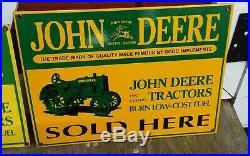 3 Original JOHN DEERE 2 CYLINDER & KEROSENE porcelain signs DEALER SALES SERVICE