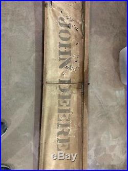 ANTIQUE ORIGINAL 1800's JOHN DEERE Canvas Plow SIGN WITH Wood 82x15