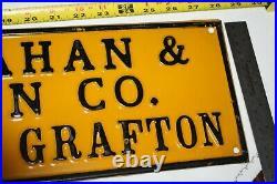 Antique Brosnahan & Olson Co Grafton ND John Deere Finger Pointing Sign 1920s