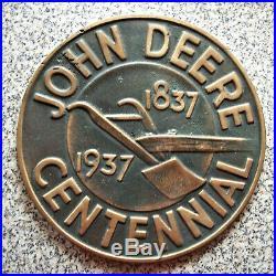 Antique Set 2 JOHN DEERE CENTENNIAL 1837 1937 Commemorative Dealer Sign Plaque