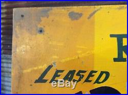 Antique Vtg 30s 40s JOHN DEERE COLORS Farm Lease Folk Art Hand Painted Tin Sign