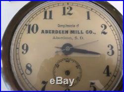 Antique Vtg Store Advertising Wall Clock Aberdeen MILL Co. South Dakota