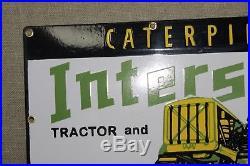 Caterpillar Interstate Porcelain Sign Oil Gas Service Garage Station John Deere