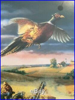 Charles Freitag Autumn Harvest John Deere Pheasant Print Framed 35x29 Signed #d