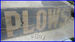 Early wood John Deere Plows smaltz sign. Unique farm advertising not porcelain