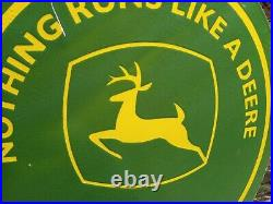 Enamel Large John Deere Sign 36 Across