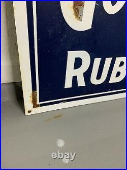 Goodyear Tires Metal Sign 24x40 Oilzum John Deere Automotive Oil Gas Akron Ohio