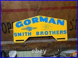 Gorman Smith Bro license plate topper Sign John Deere Chevrolet Oil car truck