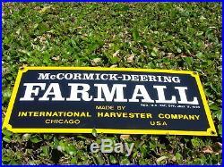 HEAVY ENAMELED PORCELAIN SIGN McCORMICK DEERING FARMALL INTERNATIONAL HARVESTER