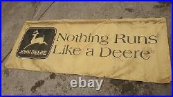 HUGE VINTAGE JOHN DEERE BANNER SIGN COLLECTABLE 117 x 47 NOTHING RUNS LIKE