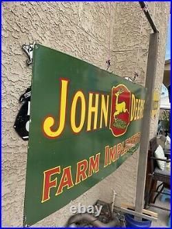 Huge 60 X 24 John Deere Farm Equip. Porcelain Gas & Oil Garage Shop