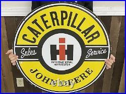 International Harvester John Deere Dealer Sign Caterpillar Rare 30 inch