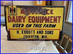International Harvester Sign IH Dairy Farm Edgerton WI Wisconsin John Deere Rare