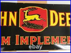 JOHN DEERE FARM IMPLEMENTS 60x24 SINGLE SIDED PORCELAIN ENAMEL SIGN