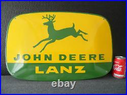 JOHN DEERE LANZ Tractor Advertising European Quality Porcelain Emaille Sign