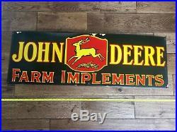 JOHN DEERE LARGE, HEAVY PORCELAIN ADVERTISING SIGN (36x 12), VERY NICE