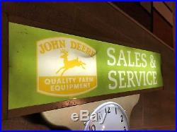 JOHN DEERE LIGHTED CLOCK SIGN made by Ohio Advertising company Cincinnati Ohio