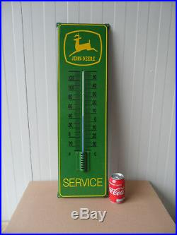 JOHN DEERE Porcelain Enamel advertising Sign with Thermometer 29.5 x 8.5 Inch