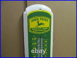 JOHN DEERE Quality Farm Equipment BIG THERMOMETER SIGN Shows Early Tractor