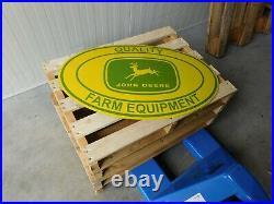 JOHN DEERE Quality Farm Equipment XXL Porcelain Enamel Sub-Dealer Sign Emblem