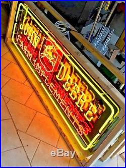 JOHN DEERE SIGN NEON Farm Implements sign HUGE 73 in a 5 cabinet None nicer
