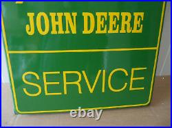 JOHN DEERE Sales & Service Sub Dealer LARGE Porcelain Enamel Sign / Shield