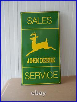 JOHN DEERE Sales & Service Sub Dealership LARGE Porcelain Enamel Sign Shield