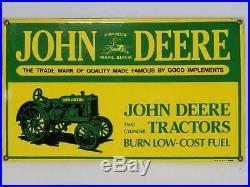 JOHN DEERE Two Cylinder Tractors Sign VINTAGE PORCELAIN ENAMEL EXCELLENT+