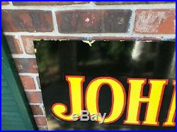 JOHN DEERE X-LARGE, HEAVY DOUBLE SIDED PORCELAIN DEALER SIGN (60x 24) NICE