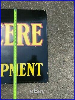 JOHN DEERE X-LARGE, HEAVY DOUBLE SIDED PORCELAIN DEALER SIGN, (60x 27) NICE