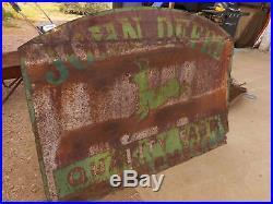 John Deere 4 legged Sign Advertising Farm Green Vintage Farm Very Rusty fragile