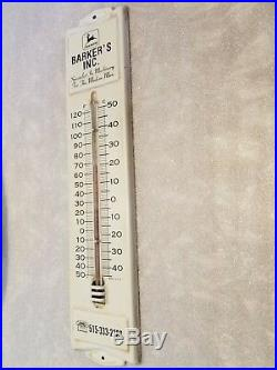 John Deere Barkers INC Metal Tin Thermometer Sign Farm. Tractor Vintage Original