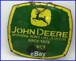 John Deere Embossed Metal Sign Nothing Runs Like A Deere 21 X 19 Tractor logo