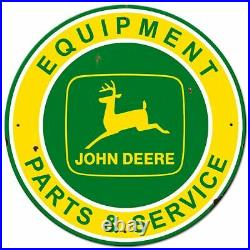 John Deere Equipment Parts Service 28 Round Heavy Duty USA Made Metal Adv Sign