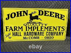 John Deere Farm Implement Metal Embossed Sign Agriculture Feed Seed Gas Oil