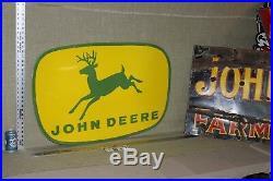 John Deere Farm Implements Porcelain Dealer Sign Tractor 4 Legged Barn Farm Corn