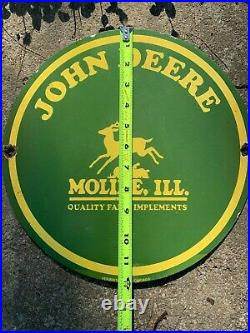John Deere Heavy Porcelain Sign, (12 Inch), Good Condition, Nice Sign