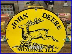 John Deere Heavy Porcelain Sign, (12 Inch), Great Looking Sign