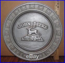 John Deere Leaping Deer Logo Pewter Plate Moline, IL 1st Series #185/1000 SIGNED