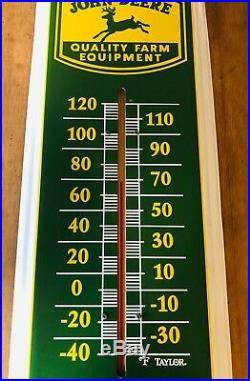 John Deere Metal Thermometer Farm Equipment Sign