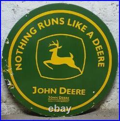 John Deere Porcelain Enamel Double Sided Sign