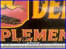 John Deere Porcelain Enamel Sign Authentic Vintage RARE 6' x 2' Collectable